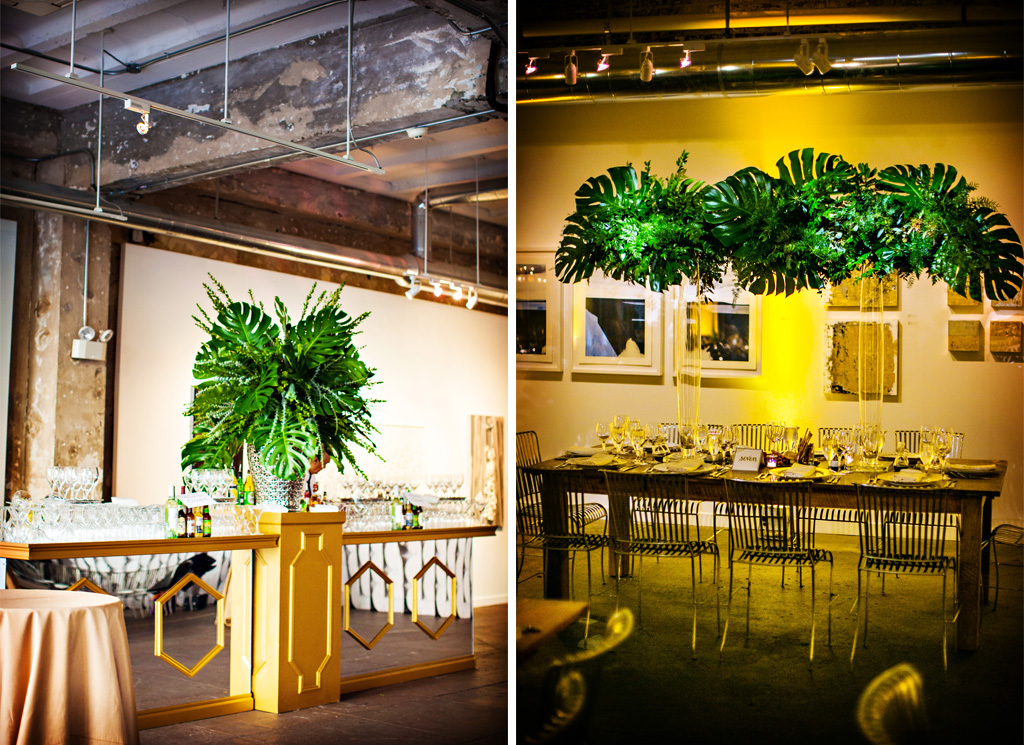 for their modern ceremony at long view gallery they wed in front of a boxwood backdrop they kept to the theme of rich deep greens at the reception with