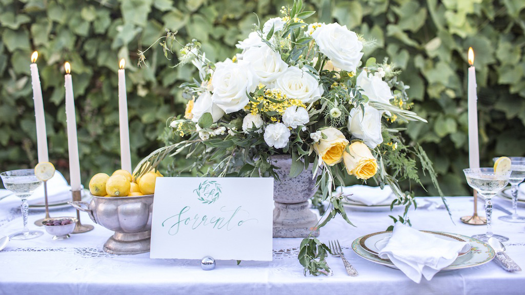 Lemon yellow wedding styled shoot