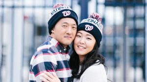This Couple Rode Bikes, Ate Ice Cream, Visited the Nats Stadium, and Stood Behind a Waterfall for Their Engagement Photos