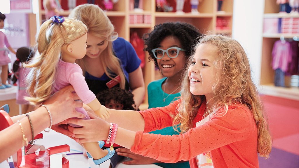 The American Girl store in Tysons has a doll hair salon and private party rooms. Photograph courtesy of American Girl.