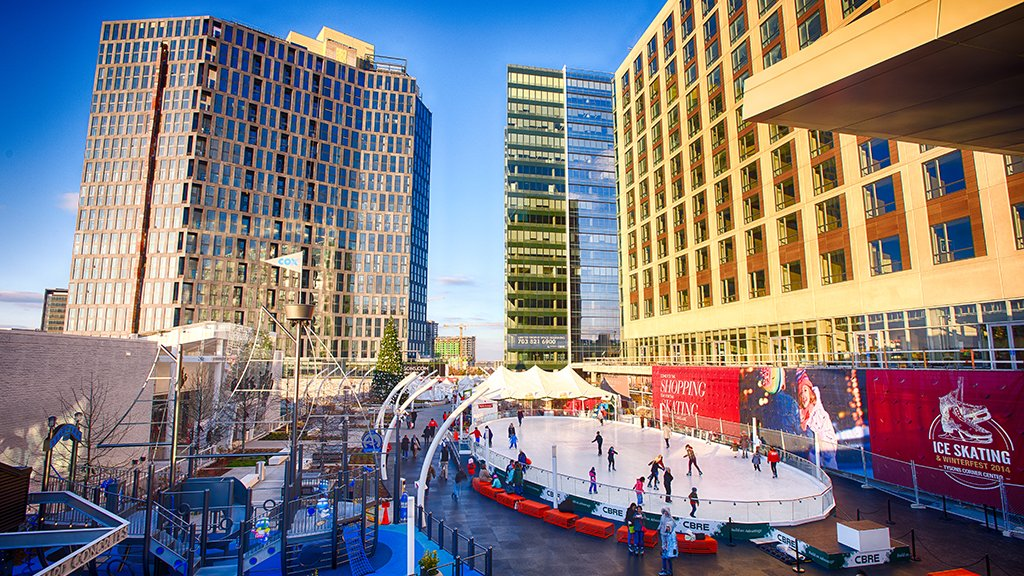Take a break from the mall with a spin around the ice rink at Tysons Corner Center, open through March 6. Photograph by Rassi Borneo.