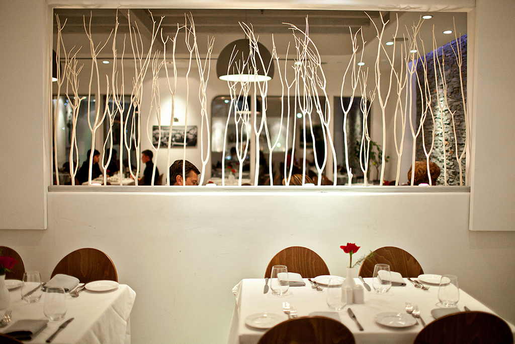The modern dining room at Nostos. Photograph by Scott Suchman.
