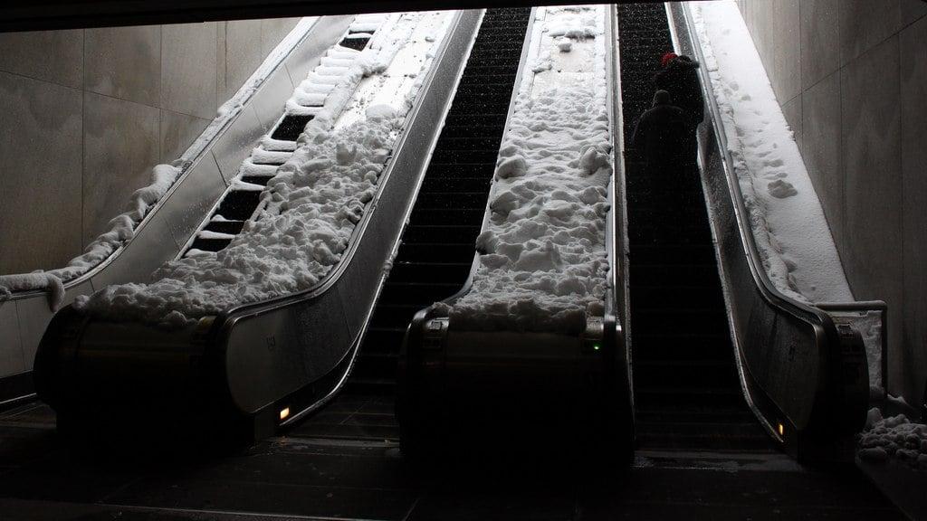 Metro escalators shut down by snow.