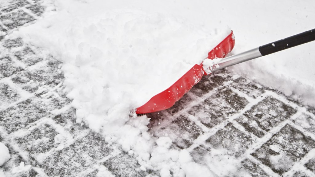 A red shovel in the snow.