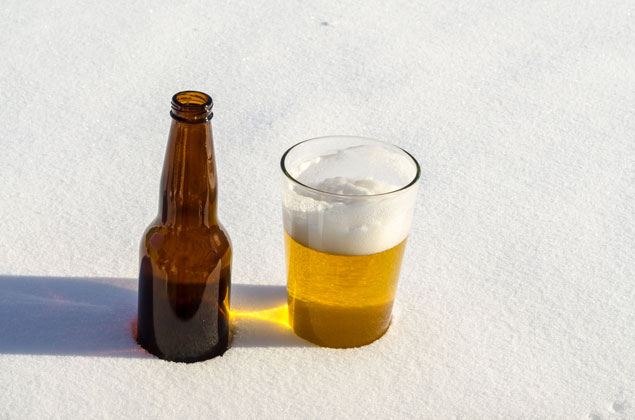 A beer in the snow.