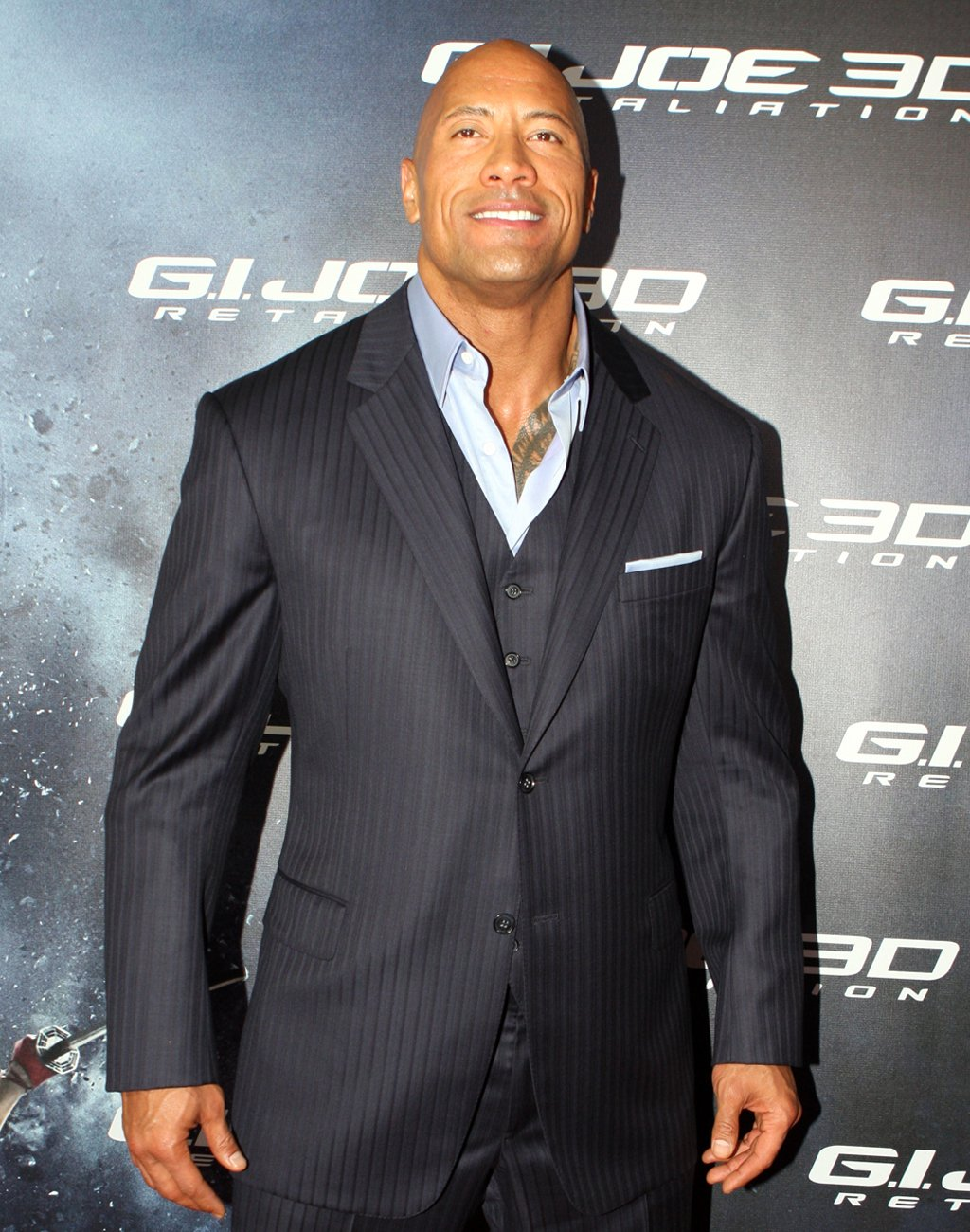 Dwayne Johnson, AKA the Rock, wearing a suit.