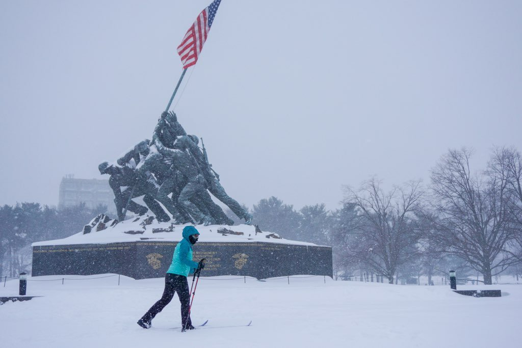 A cross country skier at the Iwo Jima memorial. Photograph courtesy of Benjamin Wiles.