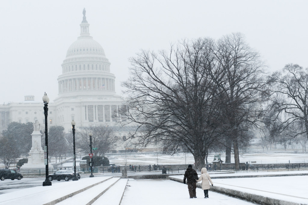 US Capitol Building in heavy snow - Washington DC, United States