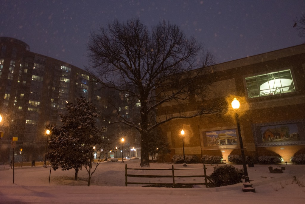 Acorn Park in downtown Silver Spring in the snow.