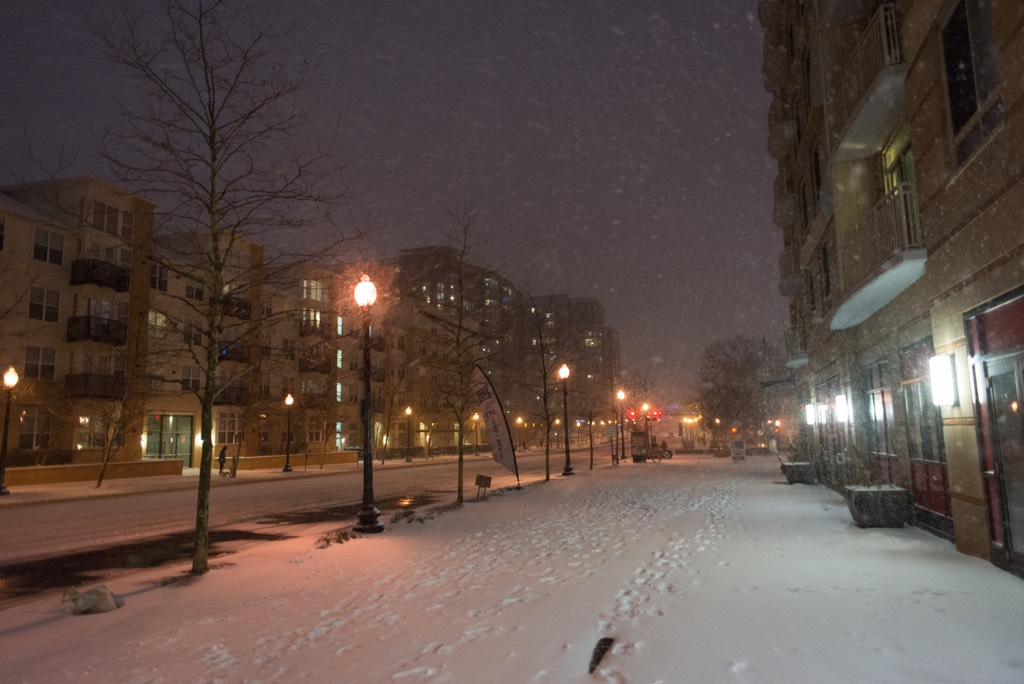 East-West Highway in downtown Silver Spring was deserted on Friday night.
