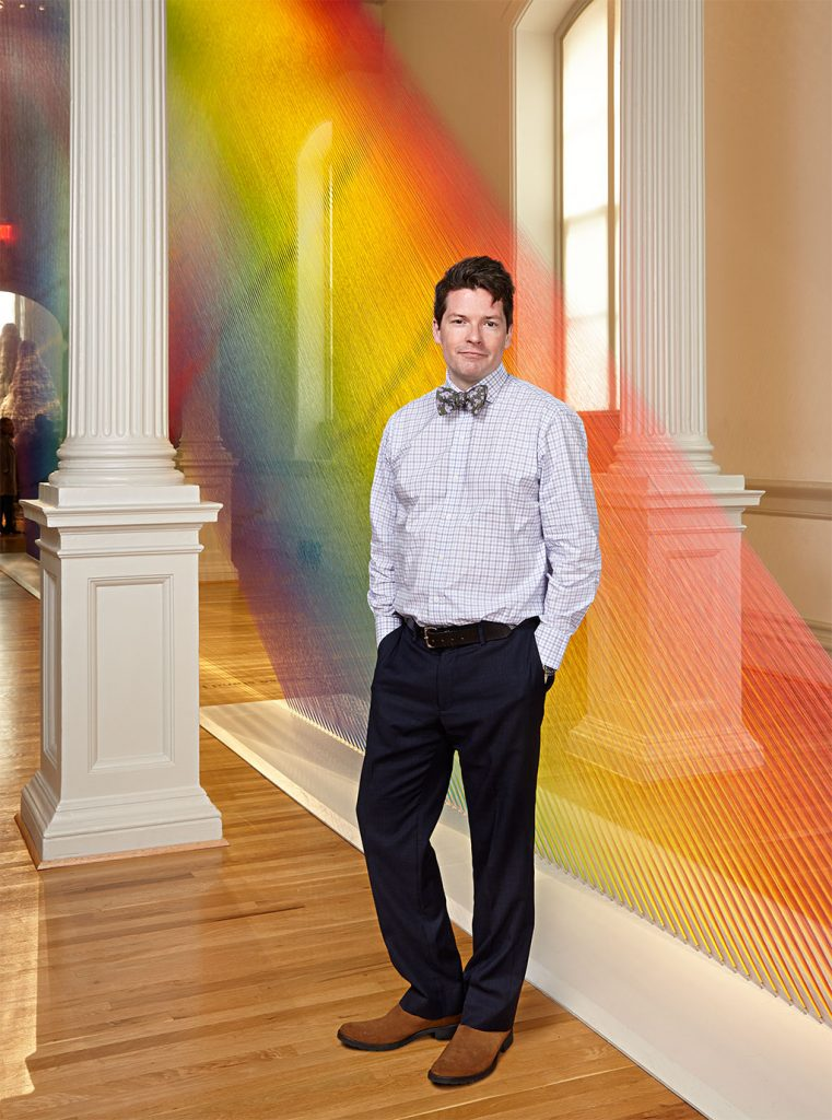 "Nicholas Bell, with Gabriel Dawe's ""Plexus A1,"" has proved crafts can draw crowds. Photograph by Jeff Elkins."