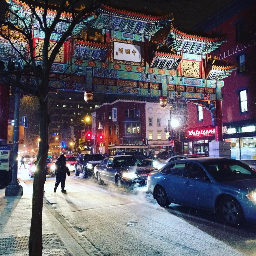 Snow falling in Chinatown. Photograph by Alexandra Loscalzo.