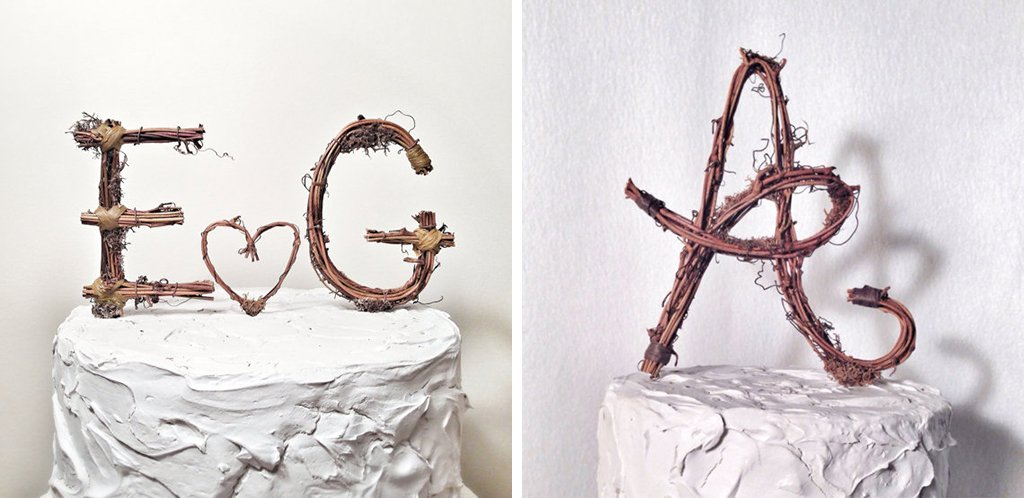 Etsy rustic wedding cake topper
