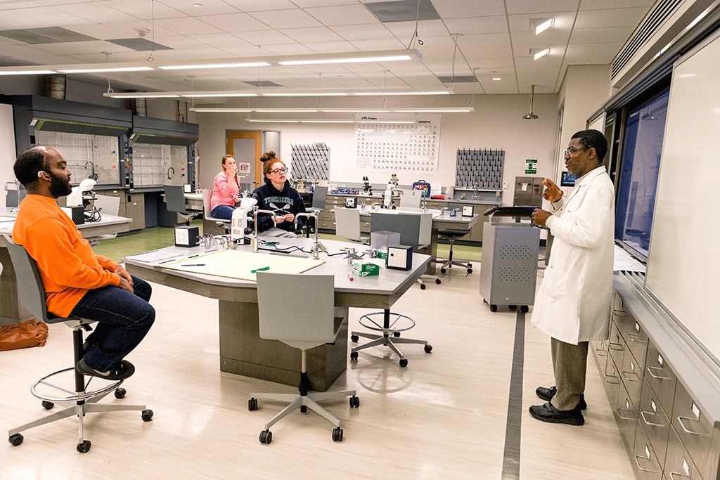 Before designing new lab rooms like this one, Hansel Bauman filmed professors' movements. Photograph by Andrew Propp.