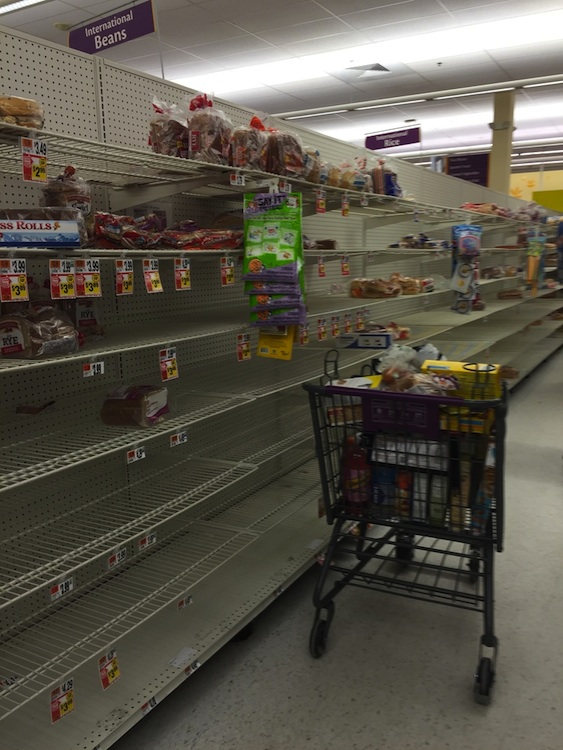 The bread aisle at a Giant in Brentwood before the winter storm hit Washington, DC. Photograph courtesy of Caroline Cunningham.