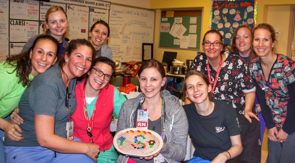 Sarah Thomas, RN, (center) a nurse in the Pediatric Intensive Care Unit at Children's National Health System, celebrates her 26th birthday snowed in the hospital on January 23, 2016.