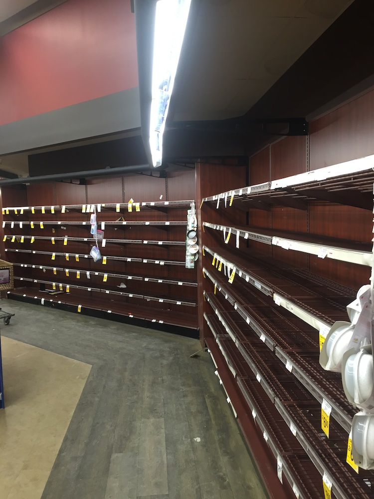 The bread aisle at Safeway in McLean before the winter storm hit Washington, DC. Photograph courtesy of Scott Arwood.