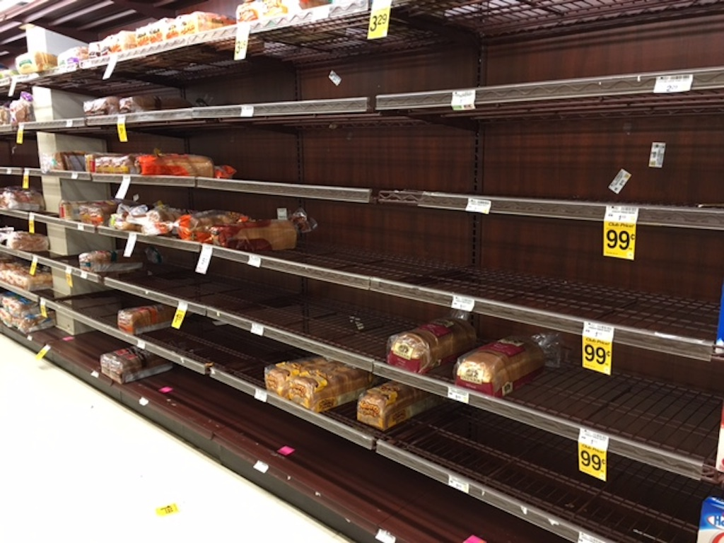 The bread aisle at a Reston supermarket before the winter storm hit Washington, DC. Photograph courtesy of Dorothy West.