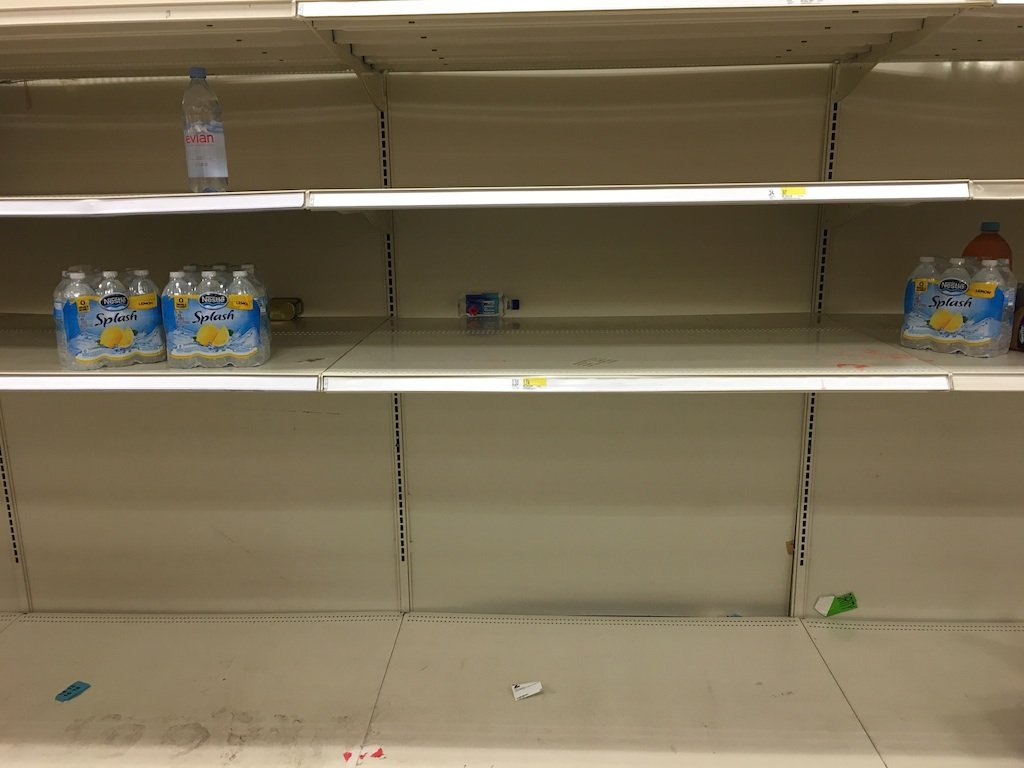 The depleted bottle water shelves at a Rockville Target. Photography courtesy of Helena Lopez.
