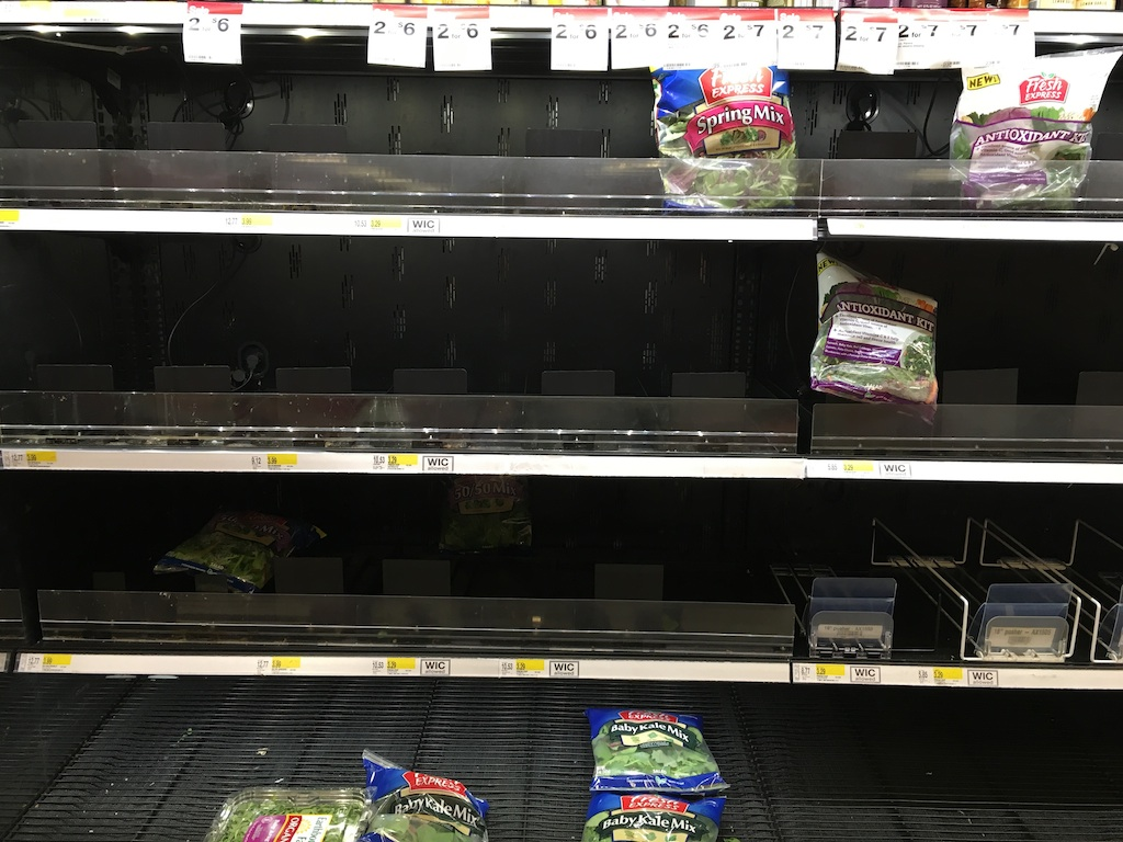 The healthy shelves have been raided too, at this Rockville Target. Photograph courtesy of Helena Lopez.