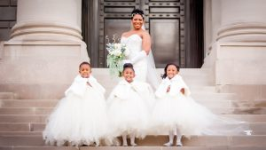 A Navy Winter Wedding at Carnegie Institution for Science With the CUTEST Flower Girls