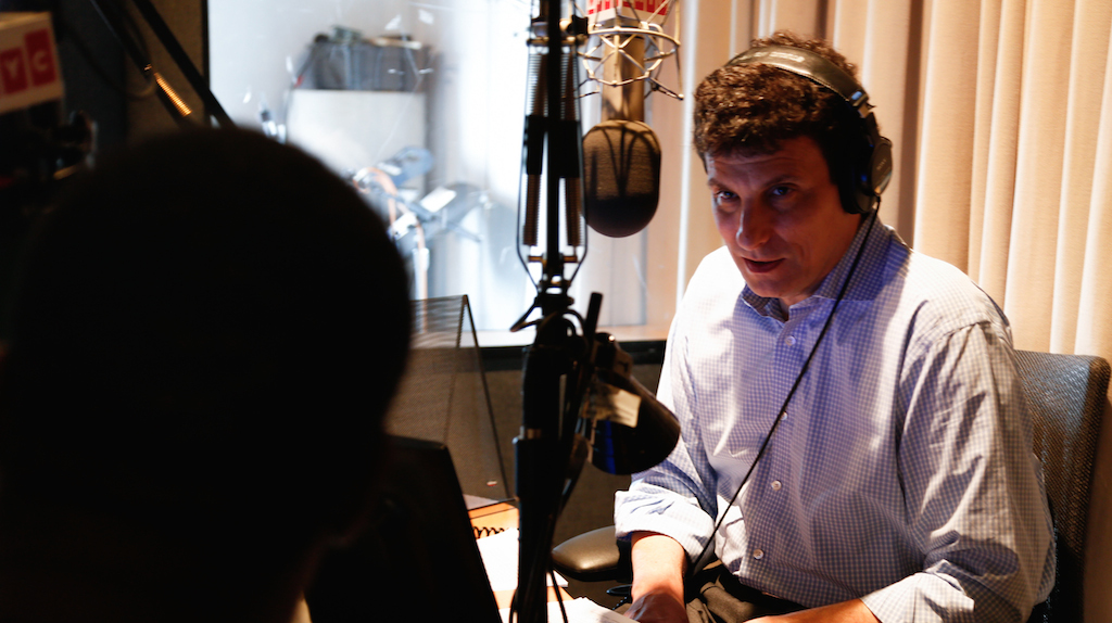 David Remnick recording the New Yorker Radio Hour