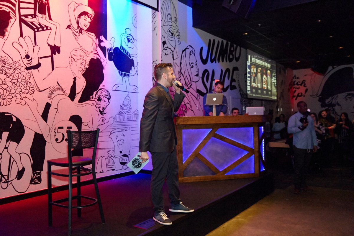 District Trivia host Rob Loreto gets the crowd ready for Singled Out DC.