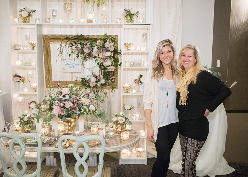 Christin Hessler and Janet Flowers with Nature of Design created an elegant vintage-inspired booth.