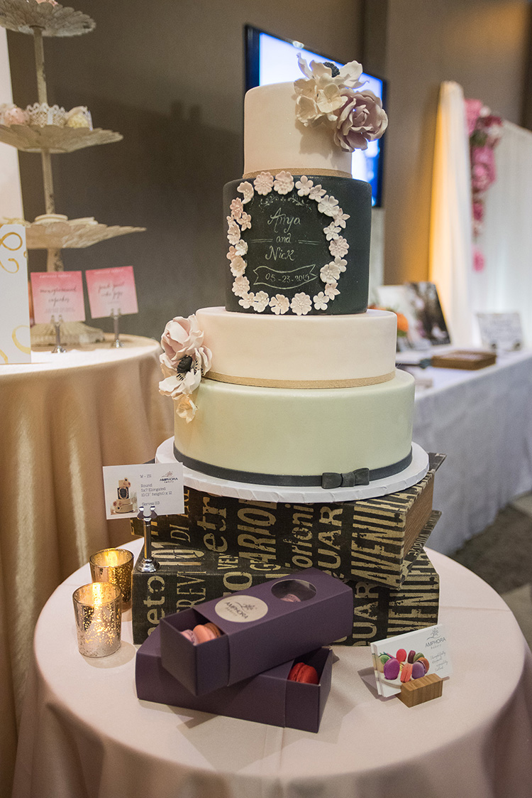 Amphora Bakery wowed guests with desserts like this modern chalk-design cake.