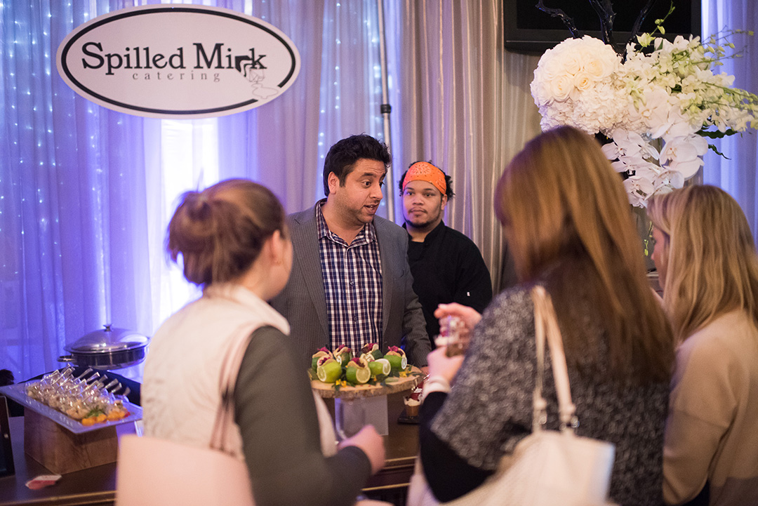 Spilled Milk Catering served delicious mini tacos and other hors d'oeuvres for guests to try.