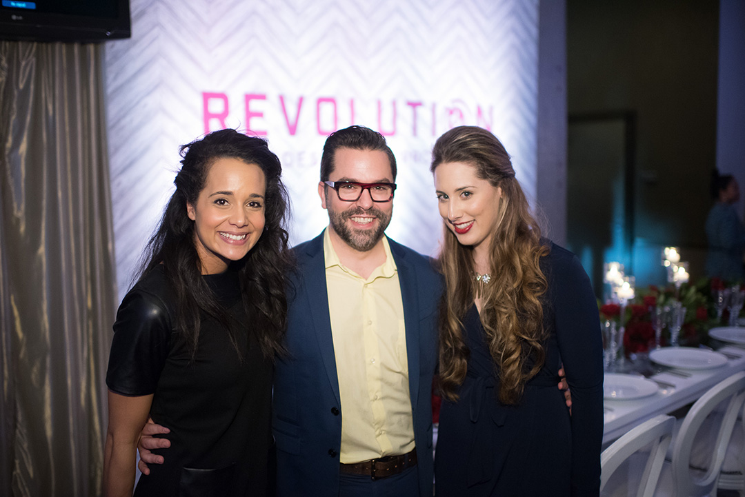 Hannah Cohen, Danny Tippett, and Renee Diodonet from Revolution Events.