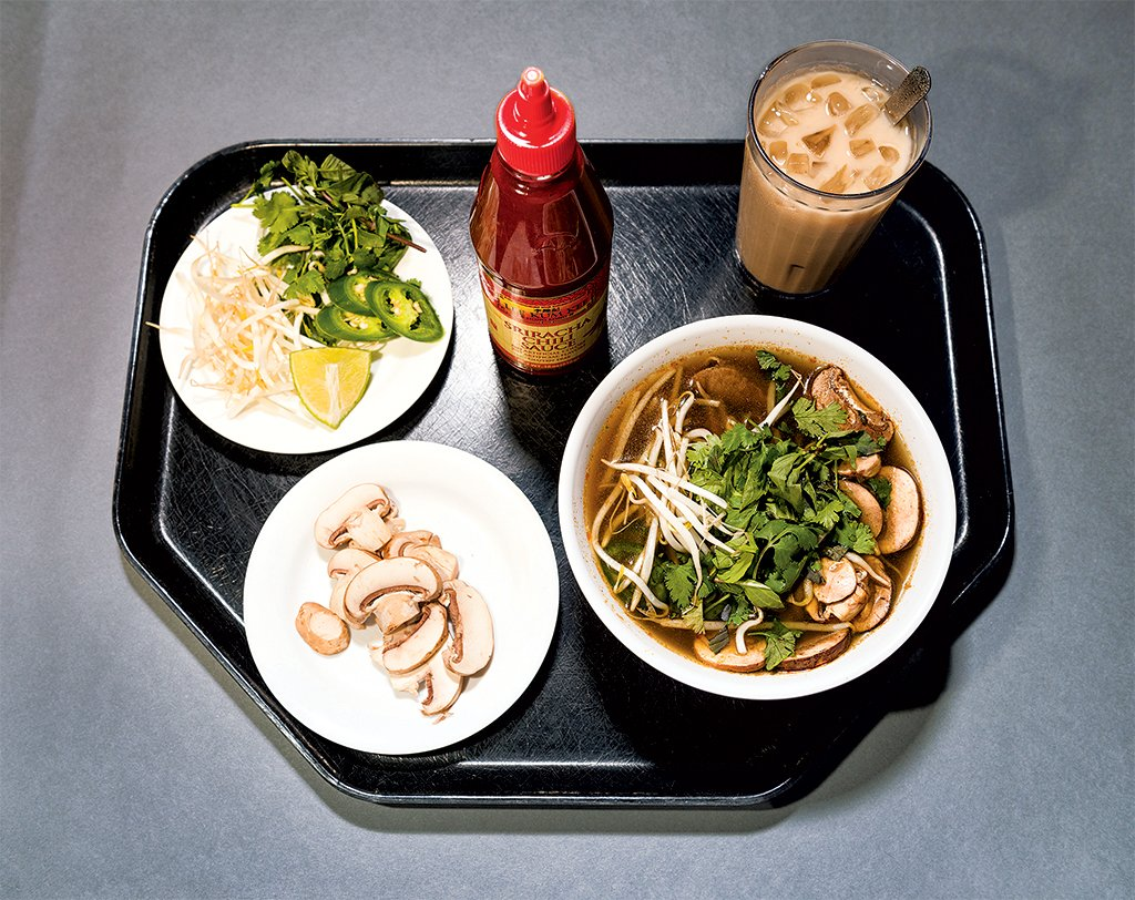 DC cafeteria meals: Filet mignon pho in star anise-scented broth, with bean-sprout, pepper, and mushroom toppings. Photograph by Andrew Propp.