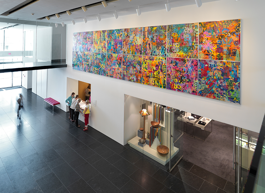 """Architectural view of the James W. and Frances G. McGlothin Wing featuring """"Art History Is Not Linear"""" at the Virginia Museum of Fine Arts. Photograph by Travis Fullerton."""