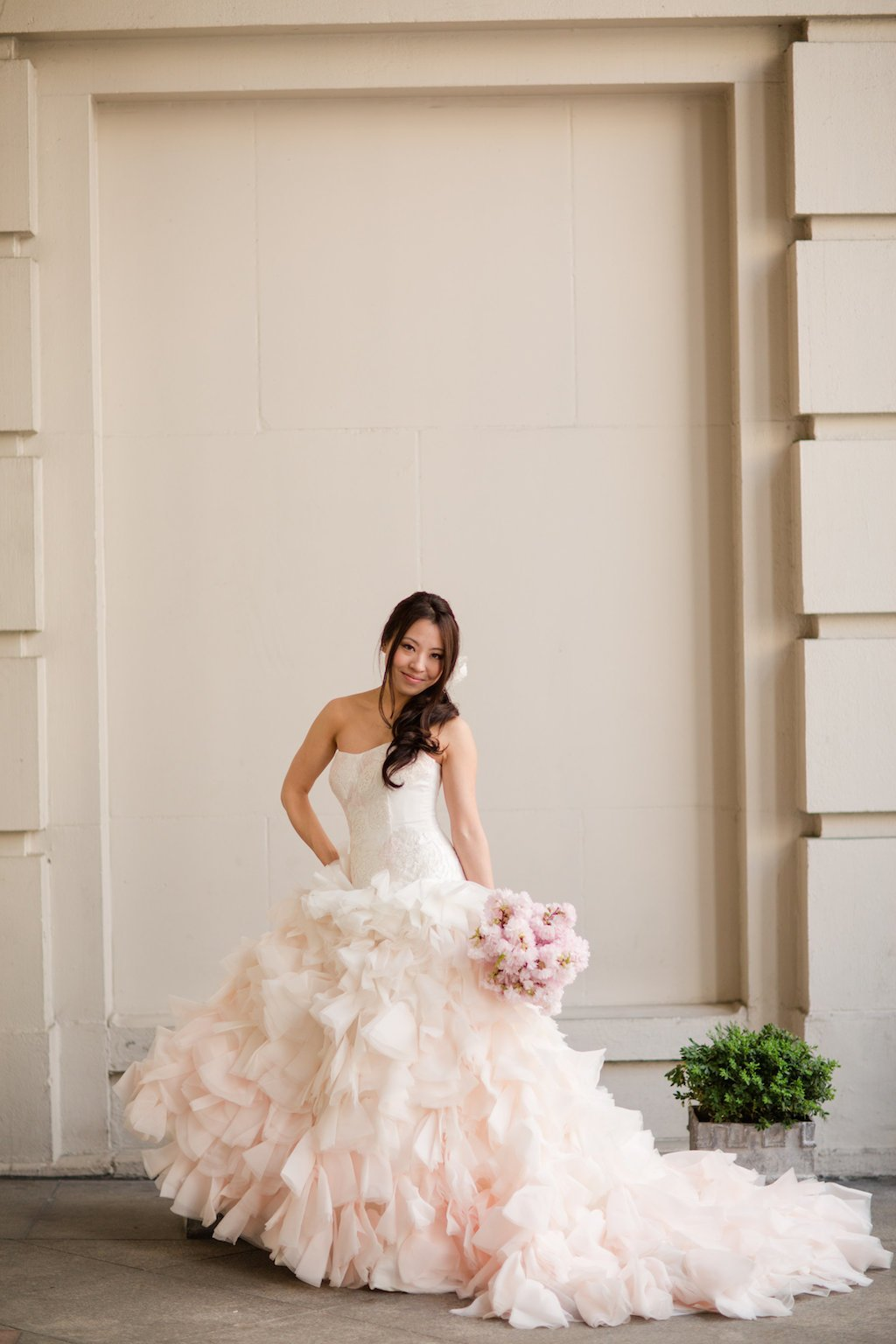 18 ideas to steal for your cherry blossom themed wedding wear a pink wedding gown ombrellifo Images
