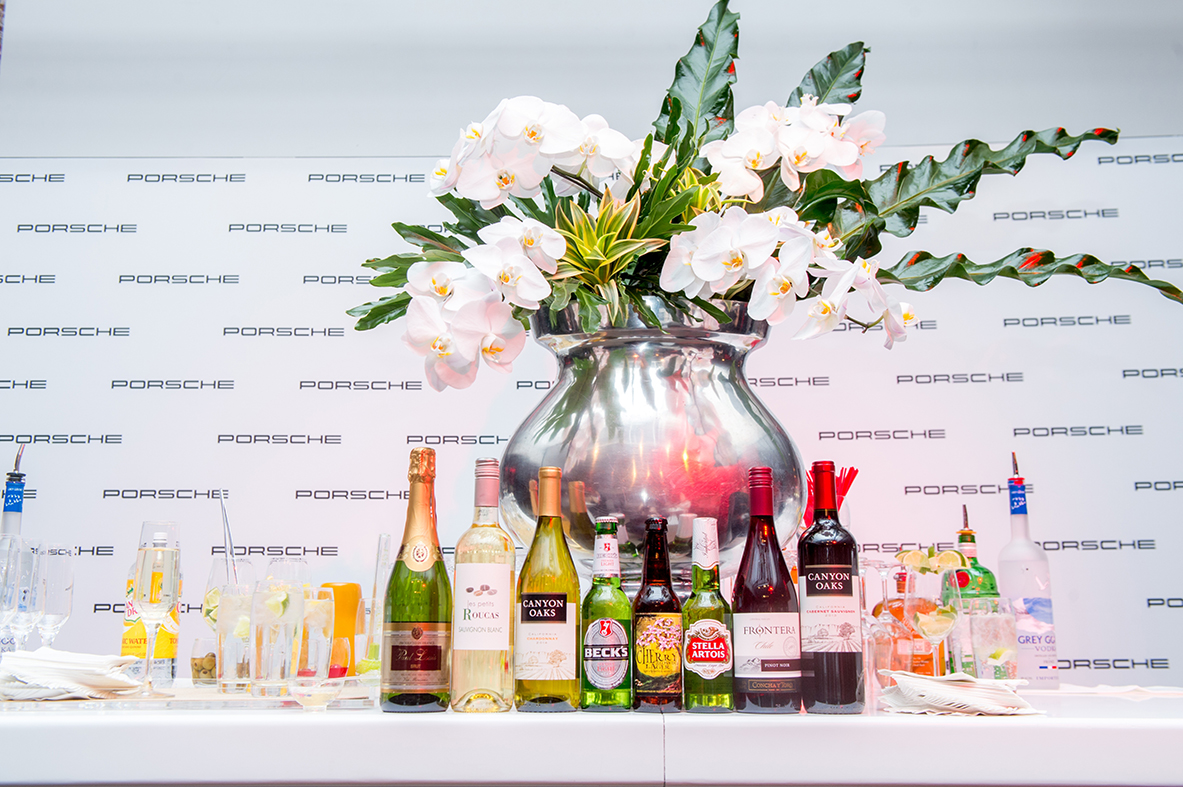 Amaryllis created a stunning floral arrangement for the bar.