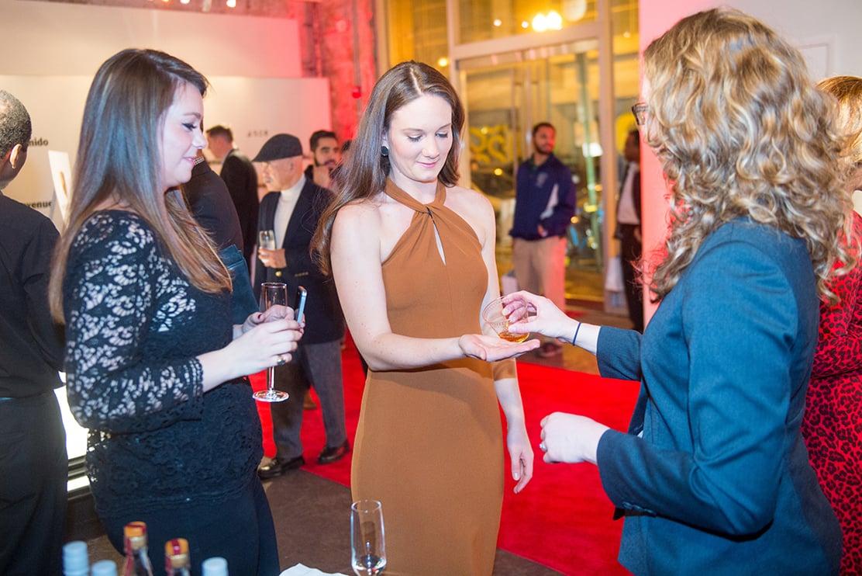 Jessie Eddington participates in Diageo's whisky sampling contest.
