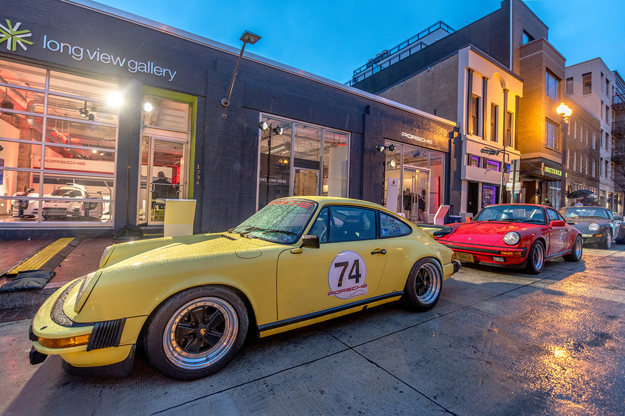 A 1974 Porsche 911 2.7 Coupe sat outside the Long View Gallery to greet guests on their way inside.
