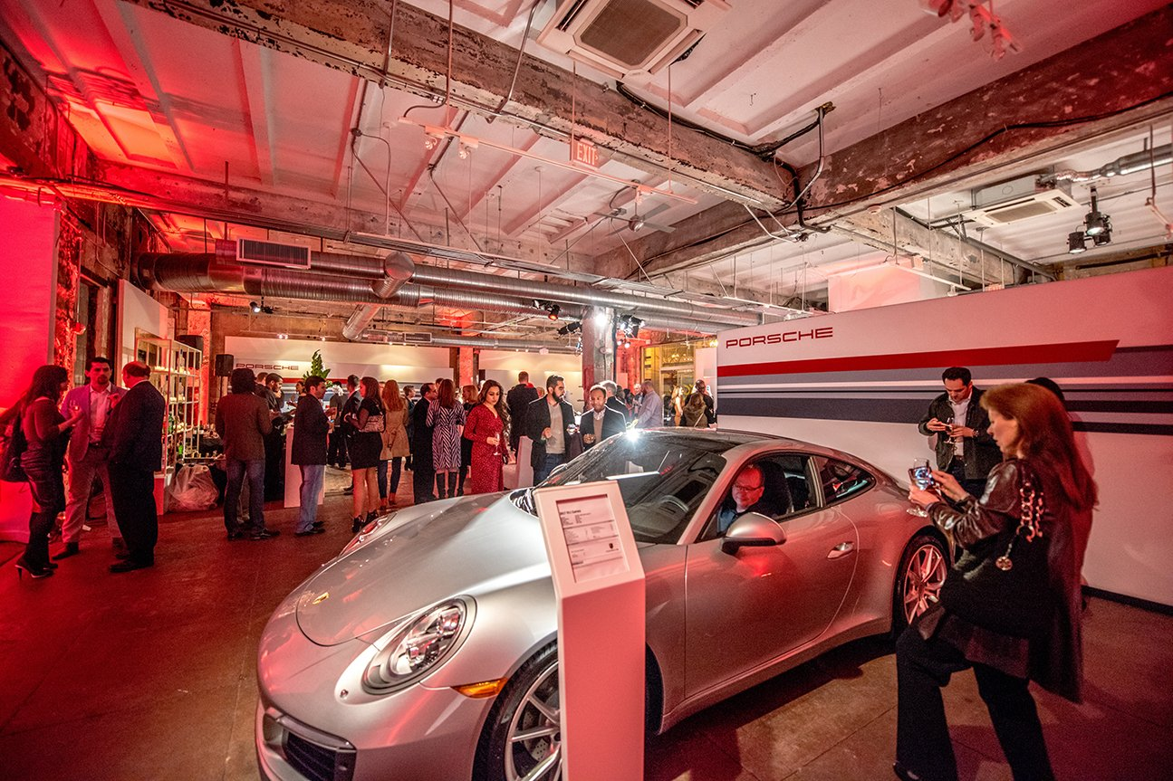 Attendees admired the new 2017 Porsche 911 Carrera in GT Silver.