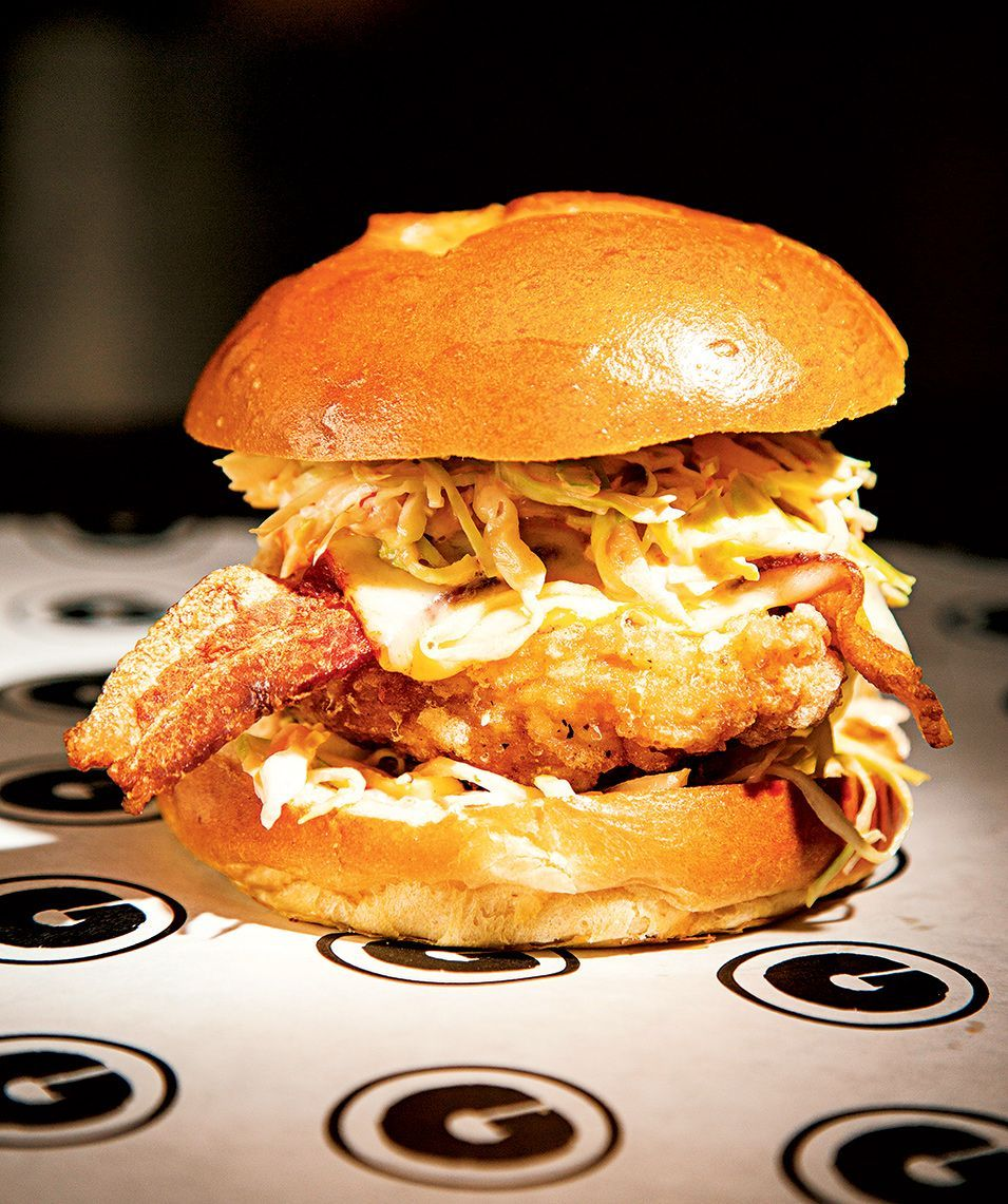 G by Mike Isabella often has guest chefs deem up sandwiches. This one, a Kim-fil-A--a mess of fried chicken, bacon, and fermented-chili slaw--was created by Jonah Kim. Photograph by Scott Suchman.