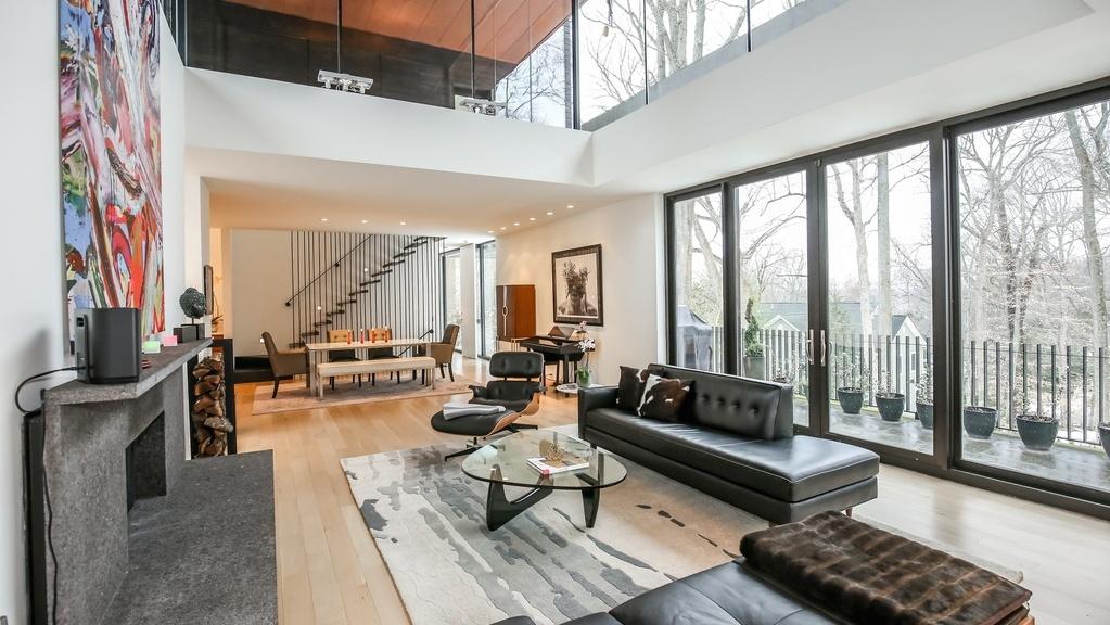 Ceilings in the living room reach 16-feet high.
