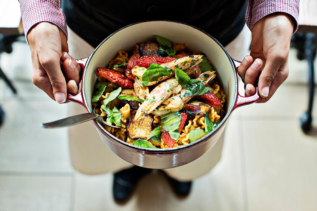 Campanelle pasta with prawns. Photograph by Scott Suchman.