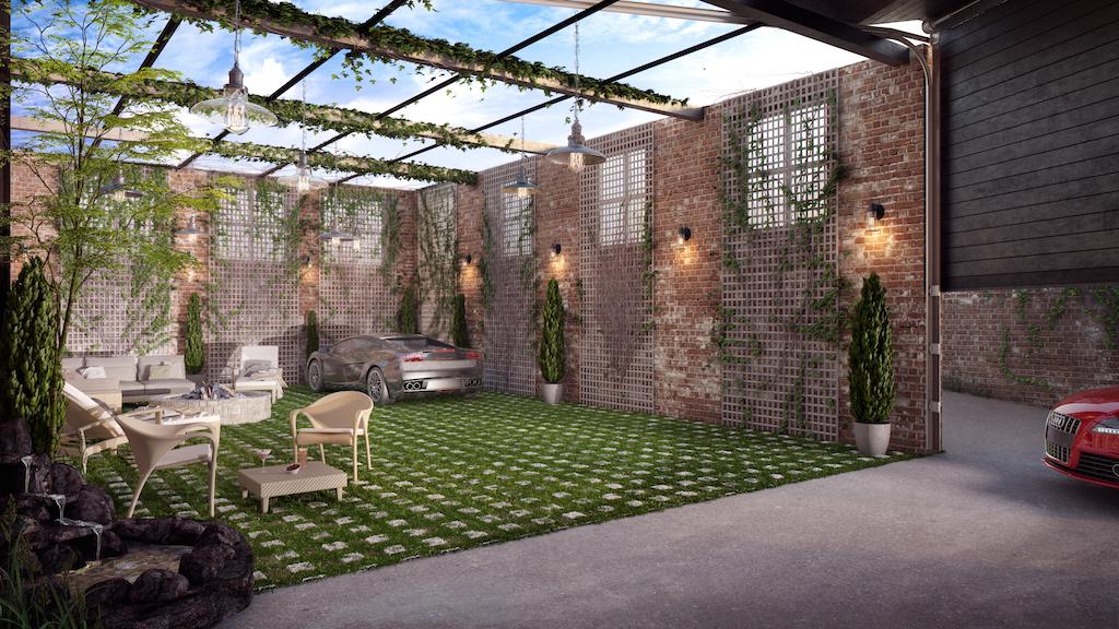big mansion, Courtyard Rendering