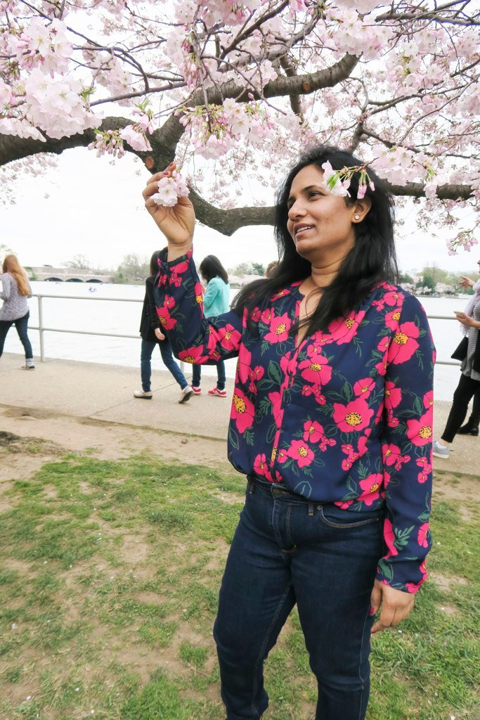 Deepa Juna's poppy-print blouse is just festive enough for peak bloom.
