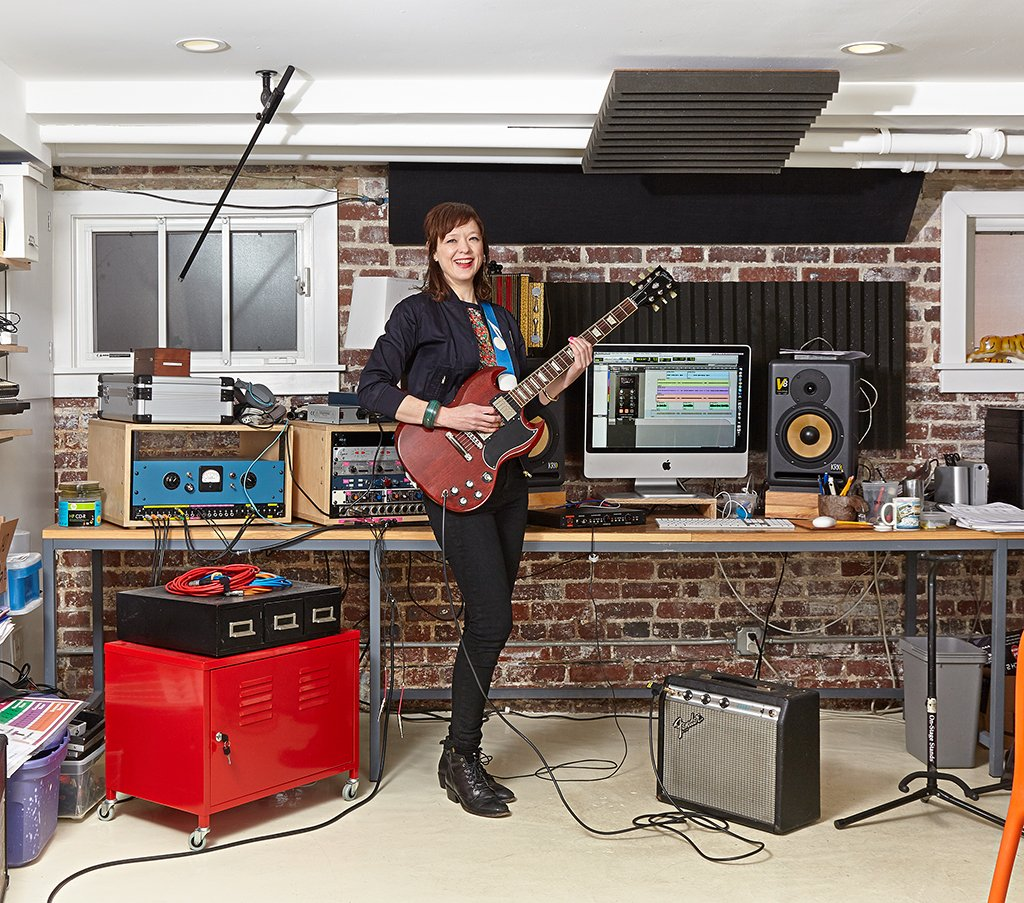 Between tours with her new band, Ex Hex, Mary Timony trains aspiring rockers in the basement studio of her childhood home. Photograph by Jeff Elkins.