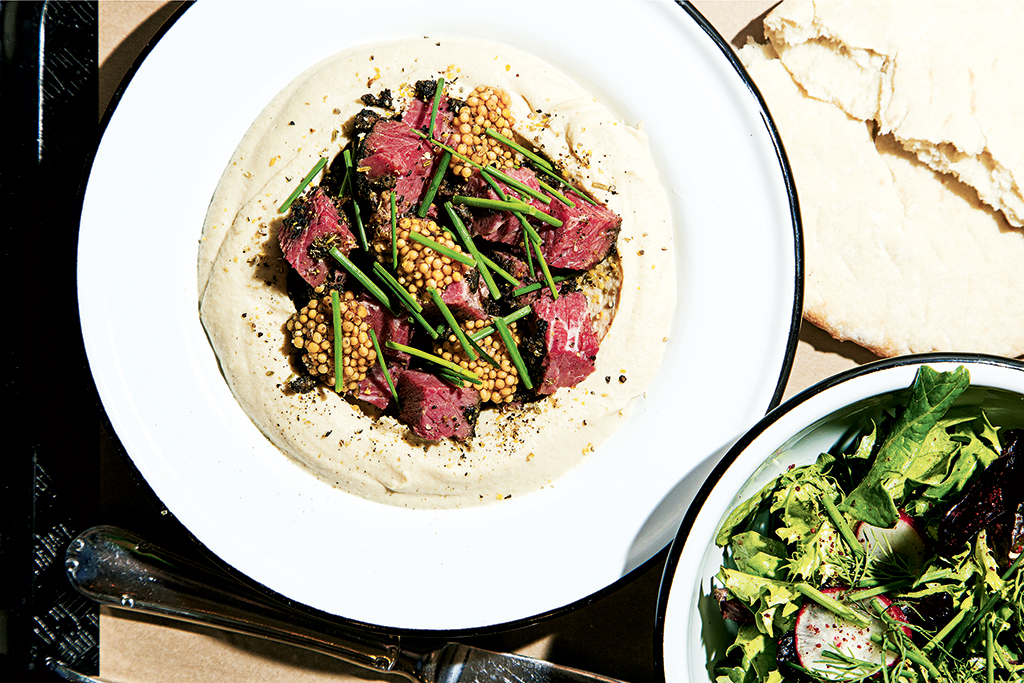 New Restaurants in DC. Hummus with pastrami and pickled mustard seeds at Dupont Circle's Little Sesame. Photograph by Scott Suchman.