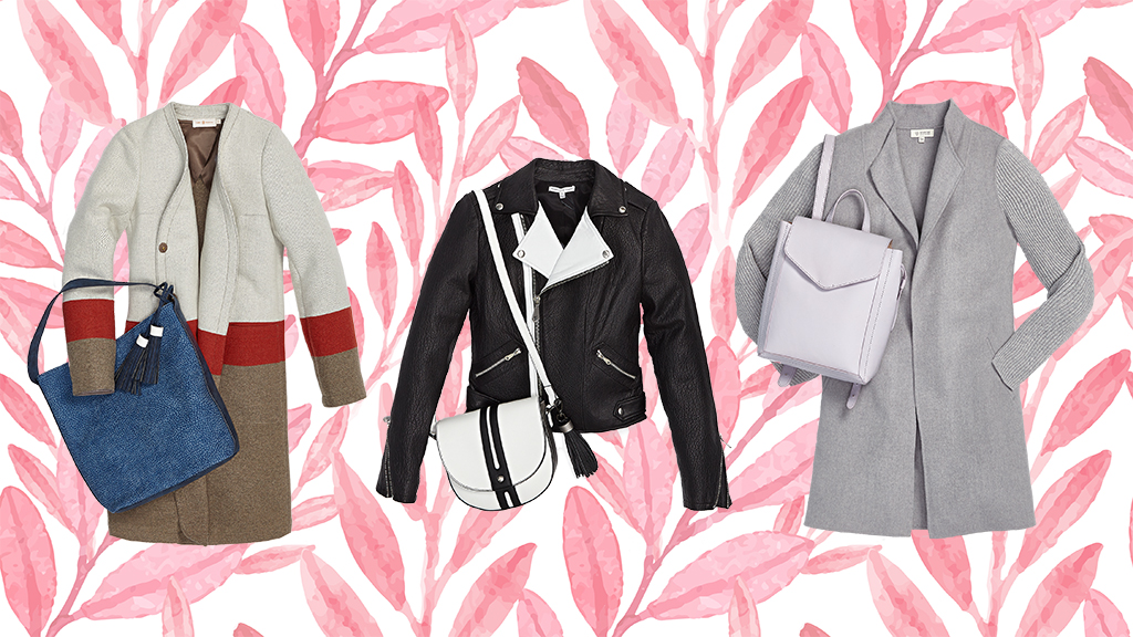 Spring trend: pretty pastel jackets and purses.