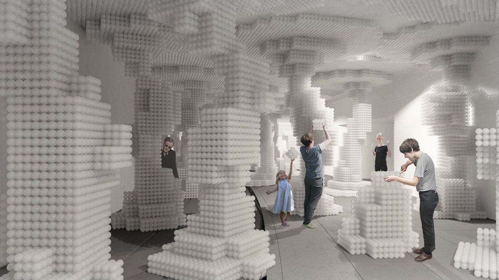 """Dupont Underground Passed Over These Four Designs for Repurposing the Building Museum's """"Beach"""" Balls"""