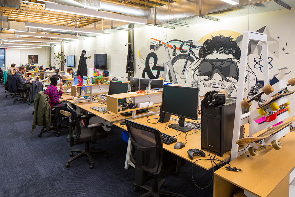 WeWork's tech incubator in a renovated Wonder Bread factory. Photograph by Dan Chung.