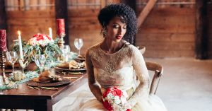Red and Gold Wedding Inspo That Proves a Barn Can Be Glamorous, Too