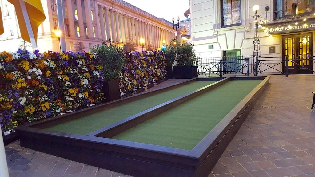 Bocce courts equipped with glow-in-the-dark balls make nighttime games more fun. Photograph courtesy of the DC Bocce League